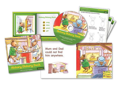Picture of the front cover of the book with an inside spread, the CD and printable activity sheets