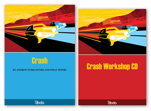 Front cover of Crash Script & CD by Andrew Fusek Peters and Polly Peters, showing abstract image of speeding cars