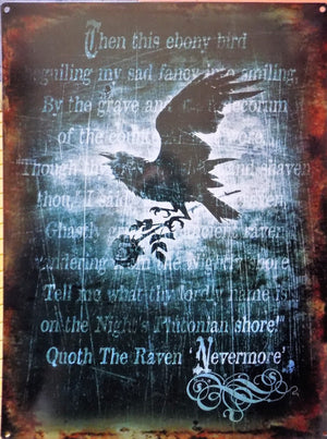 PLAQUE METAL  alchemy  gothic THE RAVEN - TOFMOBILE