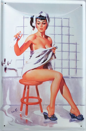 plaque métal vintage PIN UP bathroom - TOFMOBILE