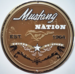 plaque métal vintage FORD MUSTANG NATION - TOFMOBILE