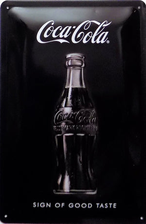 plaque métal vintage COCA COLA SIGN OF GOOD TASTE 30 x 20 cm - TOFMOBILE