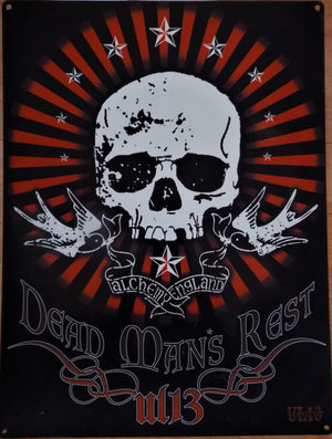 PLAQUE METAL alchemy skull DEAD MANS REST - TOFMOBILE