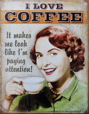 plaque métal vintage PIN UP I LOVE COFFEE - TOFMOBILE
