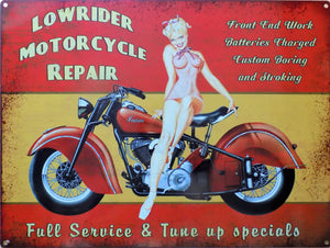 plaque métal VINTAGE PIN UP INDIAN motorcycle - TOFMOBILE