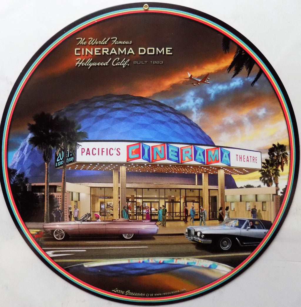 plaque métal style vintage CINERAMA DOME HOLLYWOOD - TOFMOBILE
