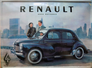 plaque métal vintage RENAULT 4CV NEW YORK - TOFMOBILE