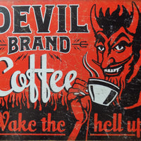 plaque métal vintage DEVIL BRAND COFFEE - TOFMOBILE
