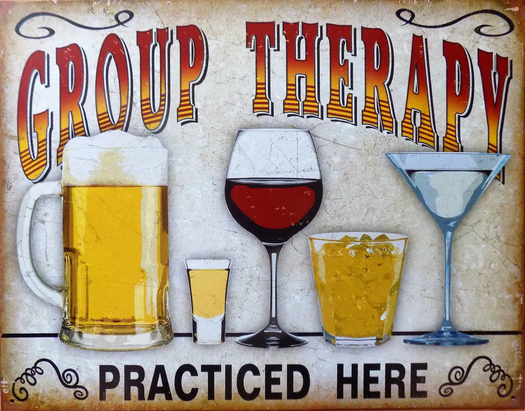 plaque métal vintage alcool GROUP THERAPY - TOFMOBILE