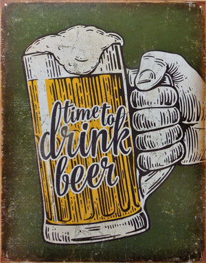 plaque métal vintage bière TIME TO DRINK BEER - TOFMOBILE