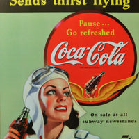 plaque métal vintage COCA COLA SEND THIRST FLYING - TOFMOBILE