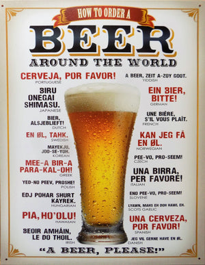 plaque métal vintage BIERE BEER around the world - TOFMOBILE