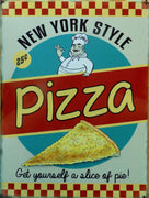 plaque metal vintage PIZZA new york style - TOFMOBILE