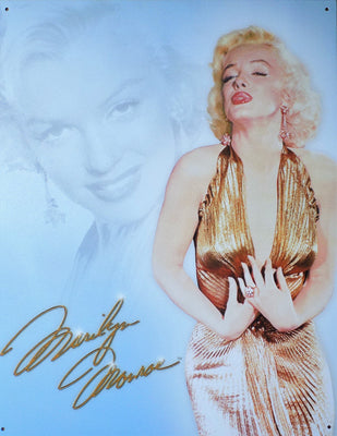 PLAQUE METAL  vintage MARILYN MONROE GOLD DRESS - TOFMOBILE