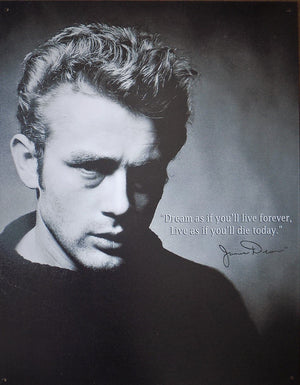 PLAQUE METAL style vintage JAMES DEAN LIVE FOREVER - TOFMOBILE