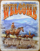 plaque métal vintage WELCOME COWBOY COUNTRY - TOFMOBILE