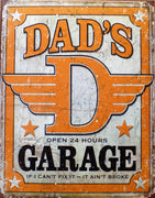 plaque métal vintage DAD'S GARAGE - TOFMOBILE