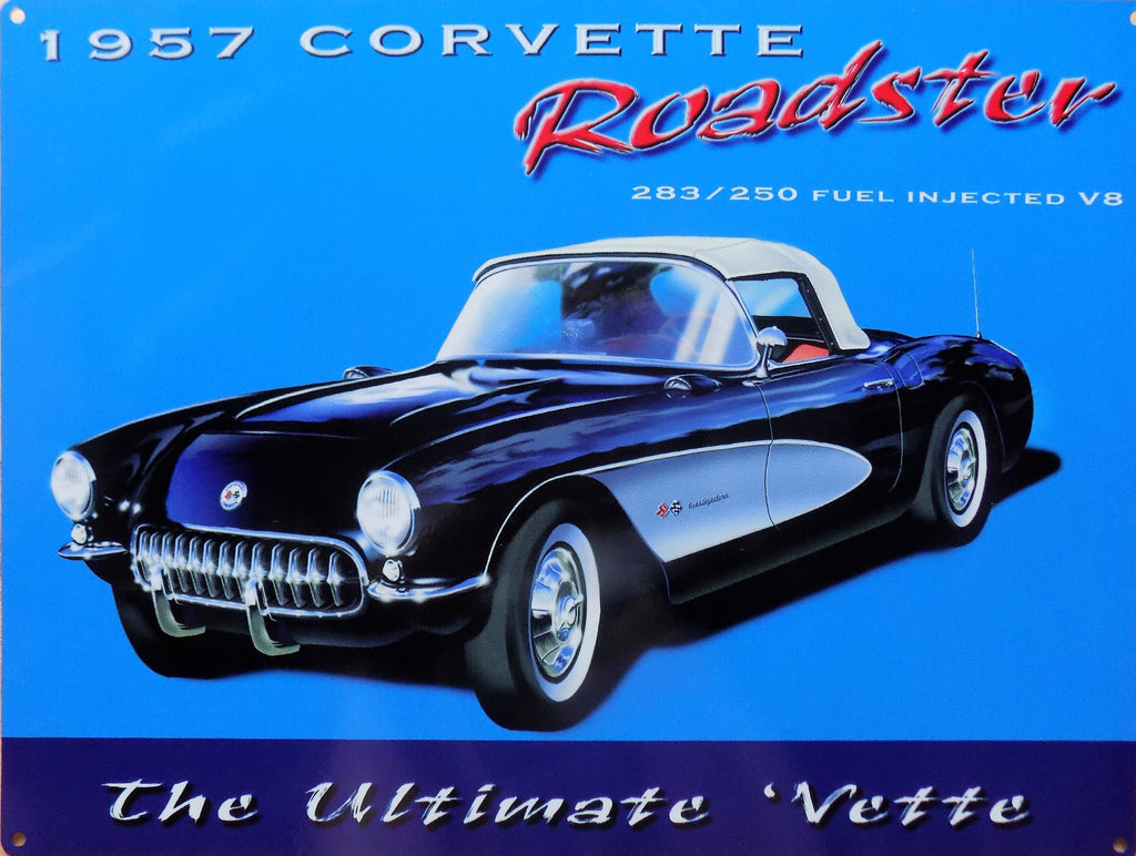 plaque métal vintage CHEVROLET CORVETTE 1957 - TOFMOBILE