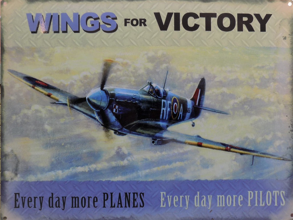 PLAQUE METAL vintage avion WINGS FOR VICTORY - TOFMOBILE