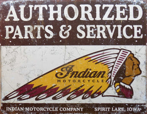 plaque métal vintage MOTO USA INDIAN parts & service - 40 x 30 cm - TOFMOBILE