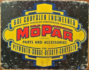 plaque métal vintage MOPAR CHRYSLER - TOFMOBILE