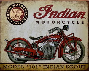plaque métal vintage INDIAN SCOUT model 101 - TOFMOBILE