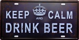 plaque métal vintage KEEP CALM and DRINK BEER - 30 x 15 cm - TOFMOBILE