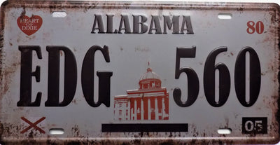 plaque métal vintage ALABAMA - 30 x 15 cm - TOFMOBILE