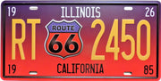 plaque métal vintage ROUTE 66 ILLINOIS CALIFORNIA - 30 x 15 cm - TOFMOBILE