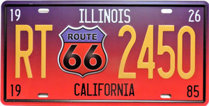 plaque métal vintage ROUTE 66 ILLINOIS CALIFORNIA - TOFMOBILE