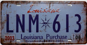 plaque métal vintage LOUISIANA - 30 x 15 cm - TOFMOBILE