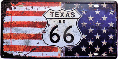 plaque métal vintage ROUTE 66 TEXAS - 30 x 15 cm - TOFMOBILE