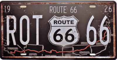 plaque métal vintage ROUTE 66 US - 30 x 15 cm - TOFMOBILE