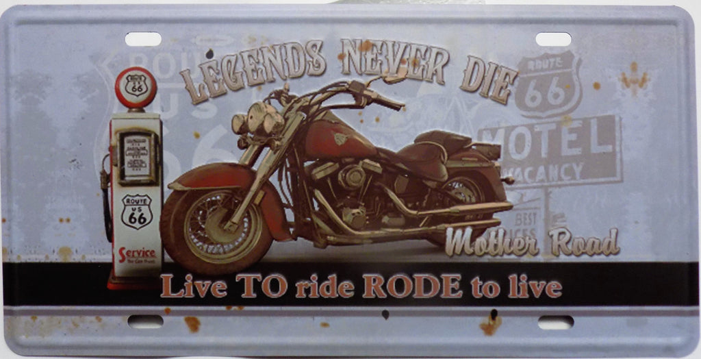 plaque métal vintage LEGENDS NEVER DIE ROUTE 66 - TOFMOBILE