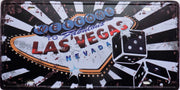 plaque métal vintage WELCOME LAS VEGAS - 30 x 15 cm - TOFMOBILE