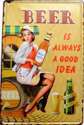 plaque métal vintage PIN UP BEER GOOD IDEA - TOFMOBILE