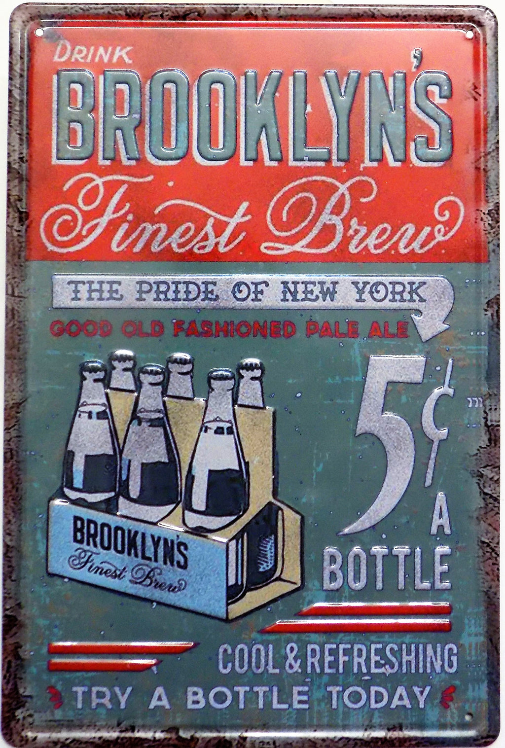 plaque métal vintage BROOKLYN'S FINEST BREW - TOFMOBILE