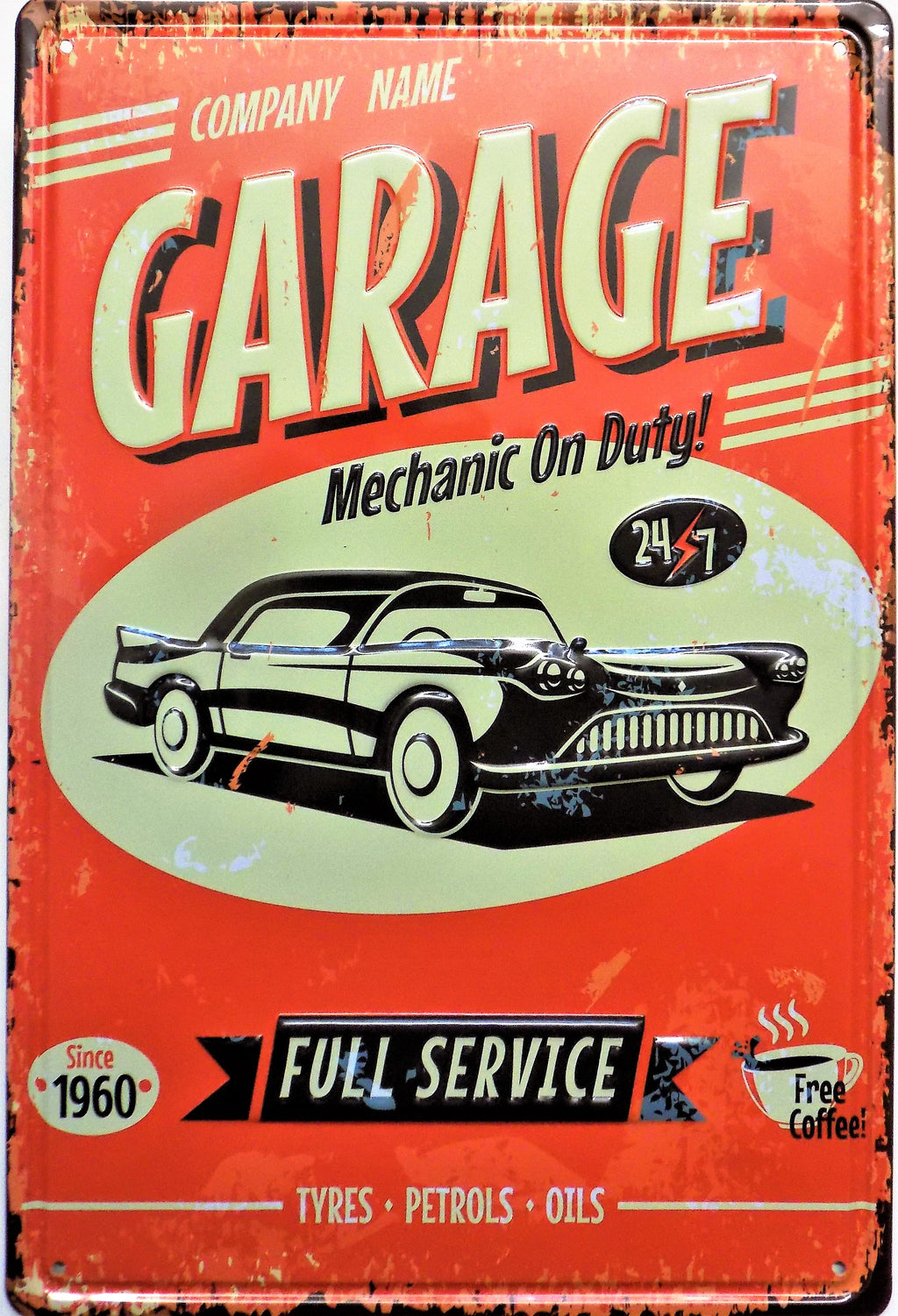 plaque métal vintage GARAGE MECHANIC ON DUTY - TOFMOBILE