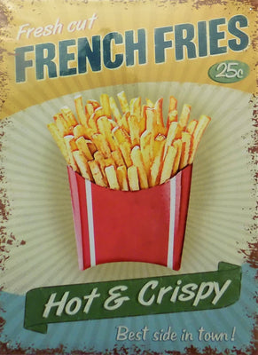 PLAQUE METAL vintage FRENCH FRIES hot & crispy - TOFMOBILE