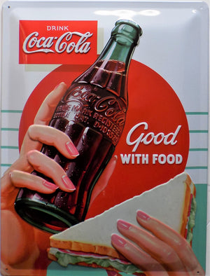 plaque métal vintage COCA COLA good with food - TOFMOBILE
