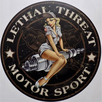plaque métal vintage LETHAL THREAT pin up - TOFMOBILE