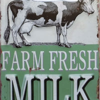 plaque métal vintage FARM FRESH MILK 40 x 28 cm - TOFMOBILE