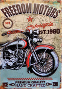 plaque métal vintage FREEDOM MOTORS custom motorcycle - 40 x 28 cm - TOFMOBILE