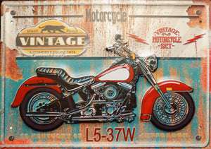 plaque métal vintage MOTORCYCLE - TOFMOBILE