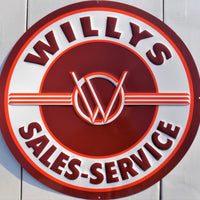 plaque métal vintage WILLYS SALES SERVICE  60 cm - TOFMOBILE