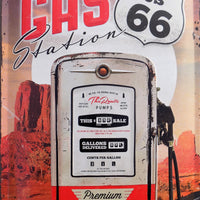 plaque métal vintage ROUTE 66 last chance gas - 60 x 40 cm - TOFMOBILE