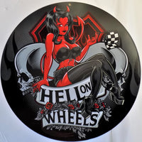 plaque métal vintage HELL ON WHEELS pin up - TOFMOBILE