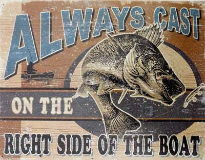plaque métal vintage FISHING ALWAYS CAST - TOFMOBILE