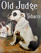 plaque métal vintage CHIEN OLD JUDGE TOBACCO - TOFMOBILE