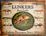 plaque métal vintage FISHING LUNKERS bait & tackle - TOFMOBILE